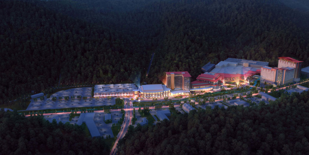 Aerial footage of Harrah's Cherokee Casino Resort