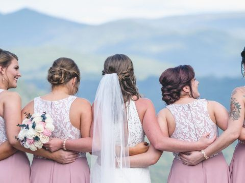 bride and bridesmaids taking in the view in jackson county