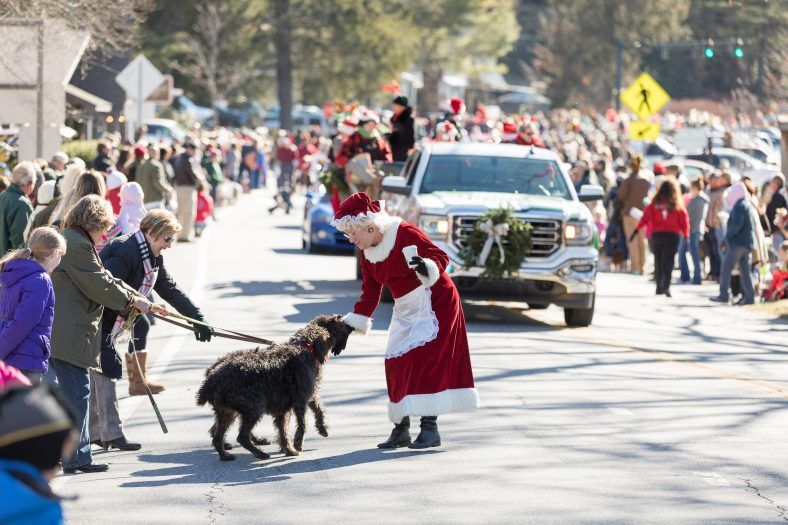 mrs. claus playing with dog at Christmas festival in jackson county