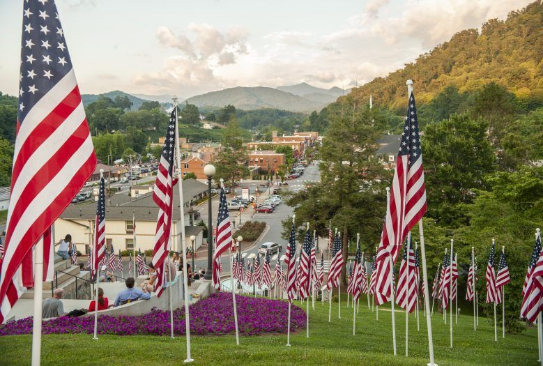 flags on the fourth of July in jackson county