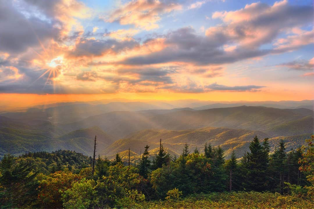 sunset over the blue ridge parkway in jackson county