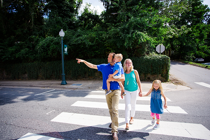 family walking through the streets of jackson county