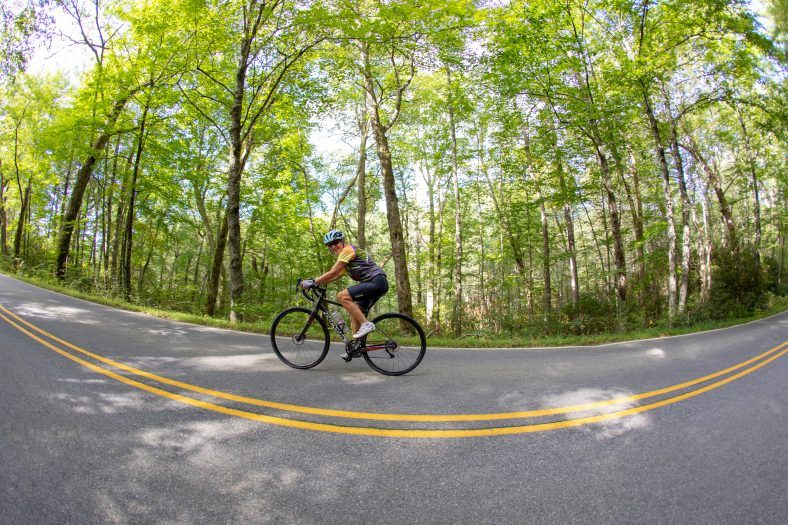 women biking through jackson county