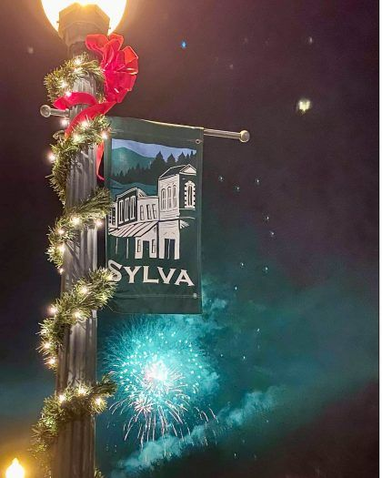Fireworks behind Sylva banner