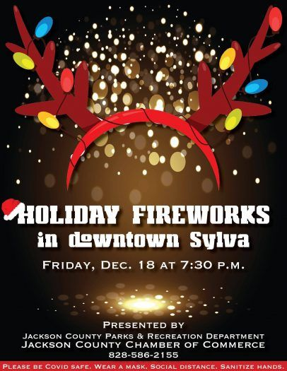 Holiday Fireworks in Downtown Sylva event flyer.