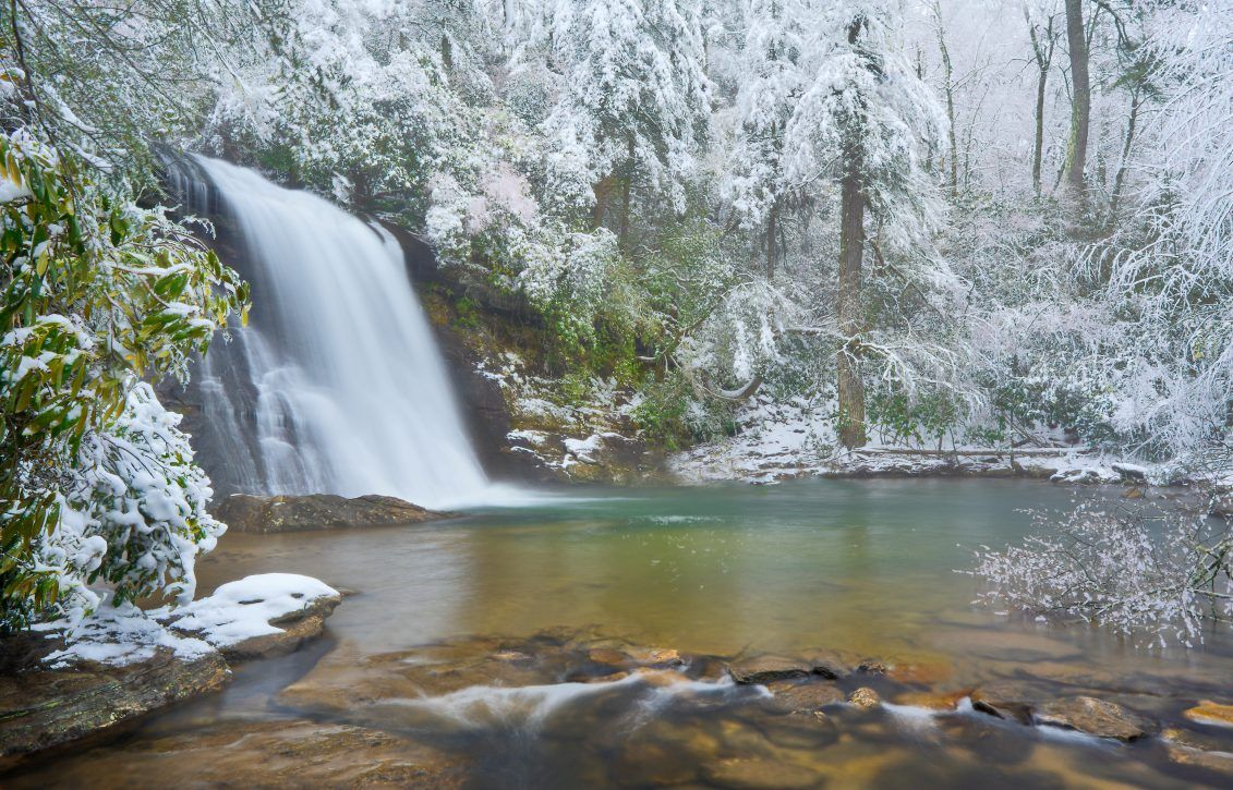 Silver Run Falls in the winter with snow.