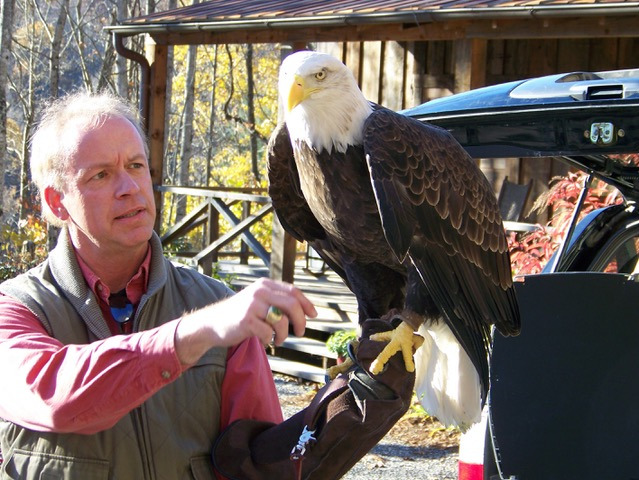 Man with Bald Eagle on his arm.