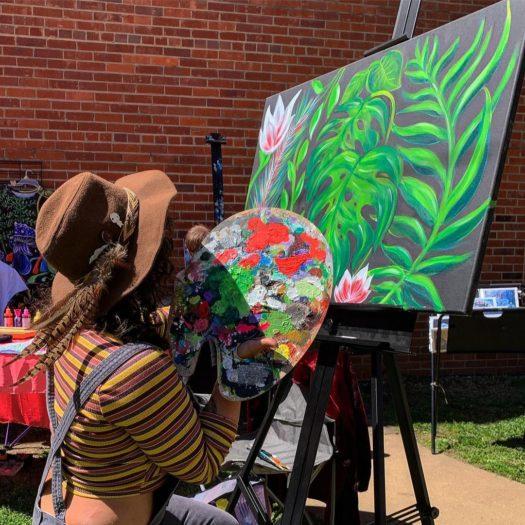 artist live painting at Jackson Arts Market in Sylva